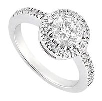 Fine Jewelry Vault 1 Carat Engagement Ring in 14K White Gold Cubic Zirconia Ring