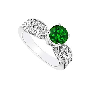 Fine Jewelry Vault 14K White Gold Emerald and Diamond Engagement Ring with Wedding Band