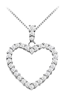 Fine Jewelry Vault 14K White Gold Floating Heart Cubic Zirconia Pendant Necklace 0.50 CT CZ