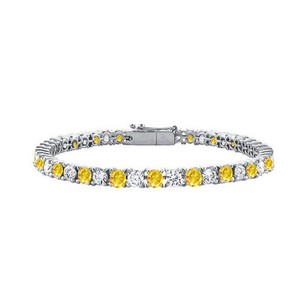 Fine Jewelry Vault 14K White Gold Yellow Sapphire and Cubic Zirconia Tennis Bracelet with