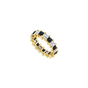 Fine Jewelry Vault 14k Yellow Gold Pure Black Natural Onyx And Cubic Zirconia Eternity Band 7.00 Ct Tgw