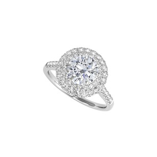 Fine Jewelry Vault Halo Engagement Ring In 14k White Gold With Cz