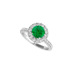 Fine Jewelry Vault Halo Cz And Emerald Engagement Ring In 14k White Gold