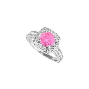Fine Jewelry Vault Pink Sapphire Cz Halo Engagement Ring In 14k White Gold