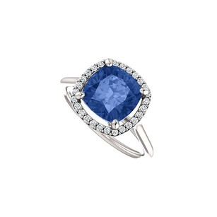 Fine Jewelry Vault Halo Engagement Rings With Cz & Created Sapphire In 14k White Gold