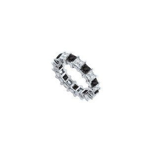 Fine Jewelry Vault Black and White Diamond Eternity Band 14K White Gold 5.00 CT Diamonds