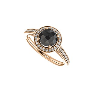 Fine Jewelry Vault Black Onyx and CZ Halo Engagement Ring in 14K Rose Gold