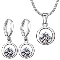 Fine Jewelry Vault Circle with CZ Moon Pendant and Earrings Set in White