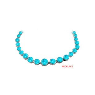 Fine Jewelry Vault Cool Blue Topaz Graduated Necklace in Sterling Silver