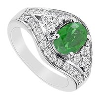 Fine Jewelry Vault Created Emerald & CZ Ring with 2.00 Carats TGW in 10K White Gold