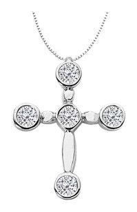 Fine Jewelry Vault Cross Necklace with Diamond 0.75 Carat Religious Pendant Necklace