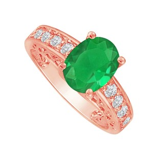 Fine Jewelry Vault Cubic Zirconia and Emerald Rose Gold Ring For Her