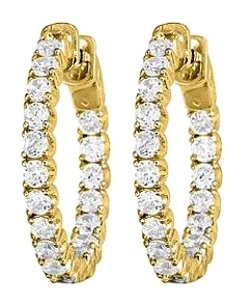 Fine Jewelry Vault Cubic Zirconia Hoop Earrings for Women in 14K Yellow Gold 5.00 CT TGW