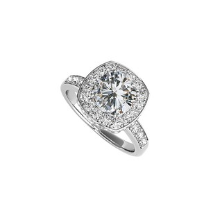 Fine Jewelry Vault Cubic Zirconia Square Halo Engagement Ring White Gold