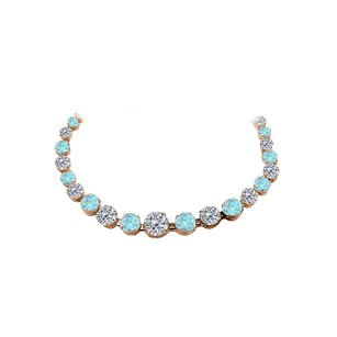 Fine Jewelry Vault CZ Aquamarine Graduated Necklace 14K Rose Gold Vermeil