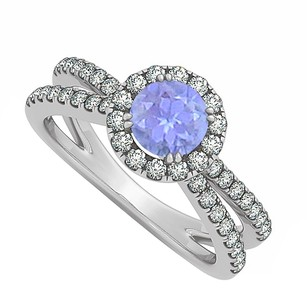 Fine Jewelry Vault December Birthstone Created Tanzanite And Cubic Zirconia Engagement Ring With 14k White Gold Spl