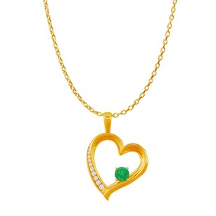 Fine Jewelry Vault Emerald and CZ Heart Design Pendant in 14K Yellow Gold