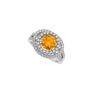 Fine Jewelry Vault Glowing Citrine and Cubic Zirconia Double Halo Engagement Ring