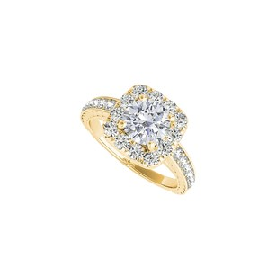Fine Jewelry Vault Halo Cubic Zirconia Engagement Ring in 14K Yellow Gold
