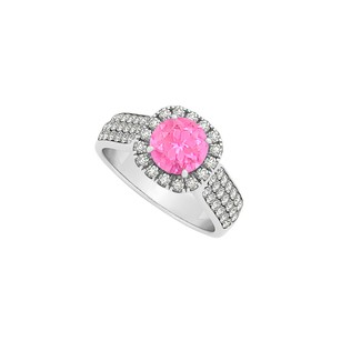 Fine Jewelry Vault Halo Pink Sapphire CZ Ring in Sterling Silver 1.75 TGW