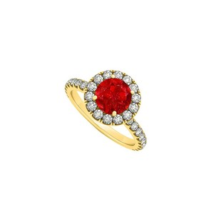 Fine Jewelry Vault July Birthstone Ruby And Cz Halo Engagement Ring
