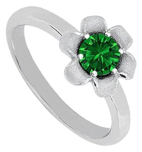 Fine Jewelry Vault Lovely Emerald Flower Shape Ring in 14K White Gold Classy Design Affordable Price Range