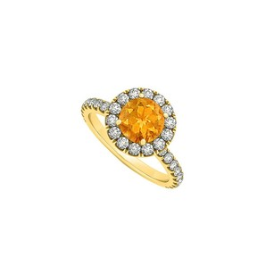 Fine Jewelry Vault November Birthstone Citrine And Cubic Zirconia Halo Engagement Ring In 14k Yellow Gold