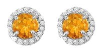 Fine Jewelry Vault November Birthstone Citrine and CZ Halo Stud Earrings Gold