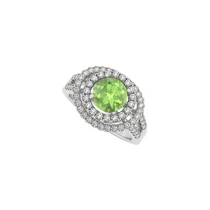 Fine Jewelry Vault Pastel Peridot and Cubic Zirconia Double Halo Engagement Ring