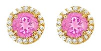 Fine Jewelry Vault Pink Sapphire and CZ Halo Stud Earrings in 14kt Yellow Gold 2.25 CT