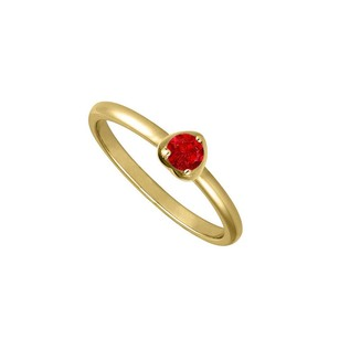 Fine Jewelry Vault Round One Carat Simulated Ruby in 14K Yellow Gold Heart Fashion Ring