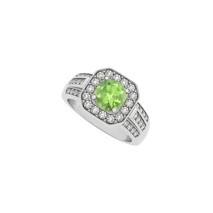 Fine Jewelry Vault Round Peridot and Three Rows CZ Square Halo Fashion Ring