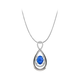 Fine Jewelry Vault Sapphire and CZ Infinity Style Pendant in White Gold