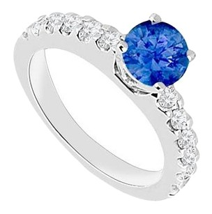 Fine Jewelry Vault September Birthstone Created Sapphire & CZ Engagement Rings in 14kt White Gold 1.00.ct.tgw