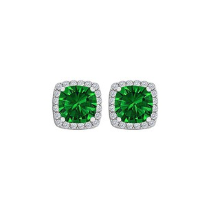 Fine Jewelry Vault Square Emerald CZ Stud Earrings Push Back White Gold