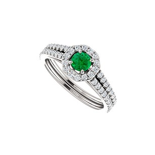 Fine Jewelry Vault Striking Green Emerald and CZ Double Row Halo Ring