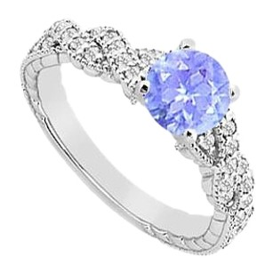 Fine Jewelry Vault Tanzanite Engagement Ring with Crossover CZ in Gold