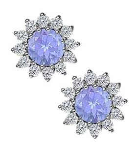 Fine Jewelry Vault Tanzanite with CZ Earrings in 14K White Gold