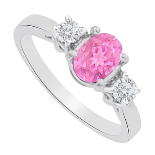 Fine Jewelry Vault Three Stones Pink Sapphire and CZ Ring in White Gold