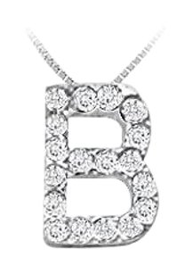 FineJewelryVault CZ Initial Sterling Silver B Pendant