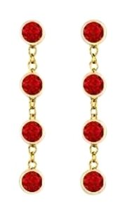 finejewelryvault Diamonds By The Yard Ruby Earrings with Designer Style Chains in 14K Yellow Gold One Carat TGW