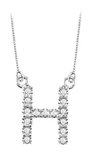 FineJewelryVault Petite Baby Charm Cubic Zirconia H Initial Pendant 925 Sterling Silver 0.25 CT TGW