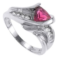 finejewelryvault Pink Tourmaline and Diamond Ring 14K White Gold 1.00 CT TGW