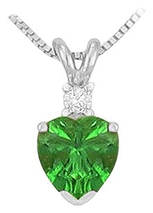 LoveBrightJewelry Synthetic Heart Shaped Emerald Solitaire Pendant 925 Sterling Silver 1.00 CT TGW