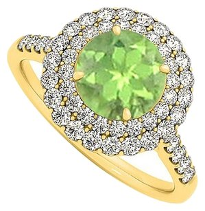 LoveBrightJewelry Lovely Peridot and CZ Ring in 18K Yellow Gold Vermeil