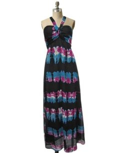 Black Maxi Dress by Fire Los Angeles Print Strapless Sheer Smocked Halter Maxi