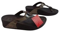 FitFlop Chocolate Rubber Beaded Wedge Heel Thong B3415 Brown Sandals