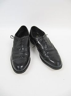 Vintage Florsheim Comfortech Black Leather Wing Tip Oxford Shoes D