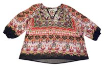 Forbidden Boho Country Sheer Bohemian Festival Top Multi Color