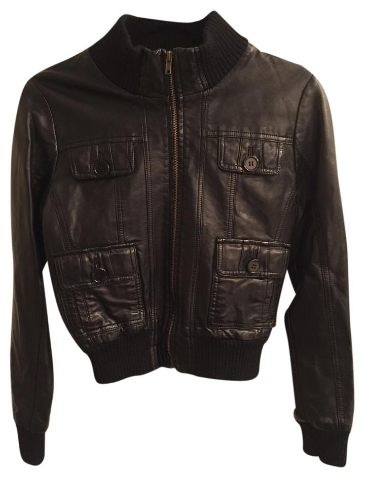 Forever 21 Black Faux Leather Motorcycle Jacket Size 4 (S ...